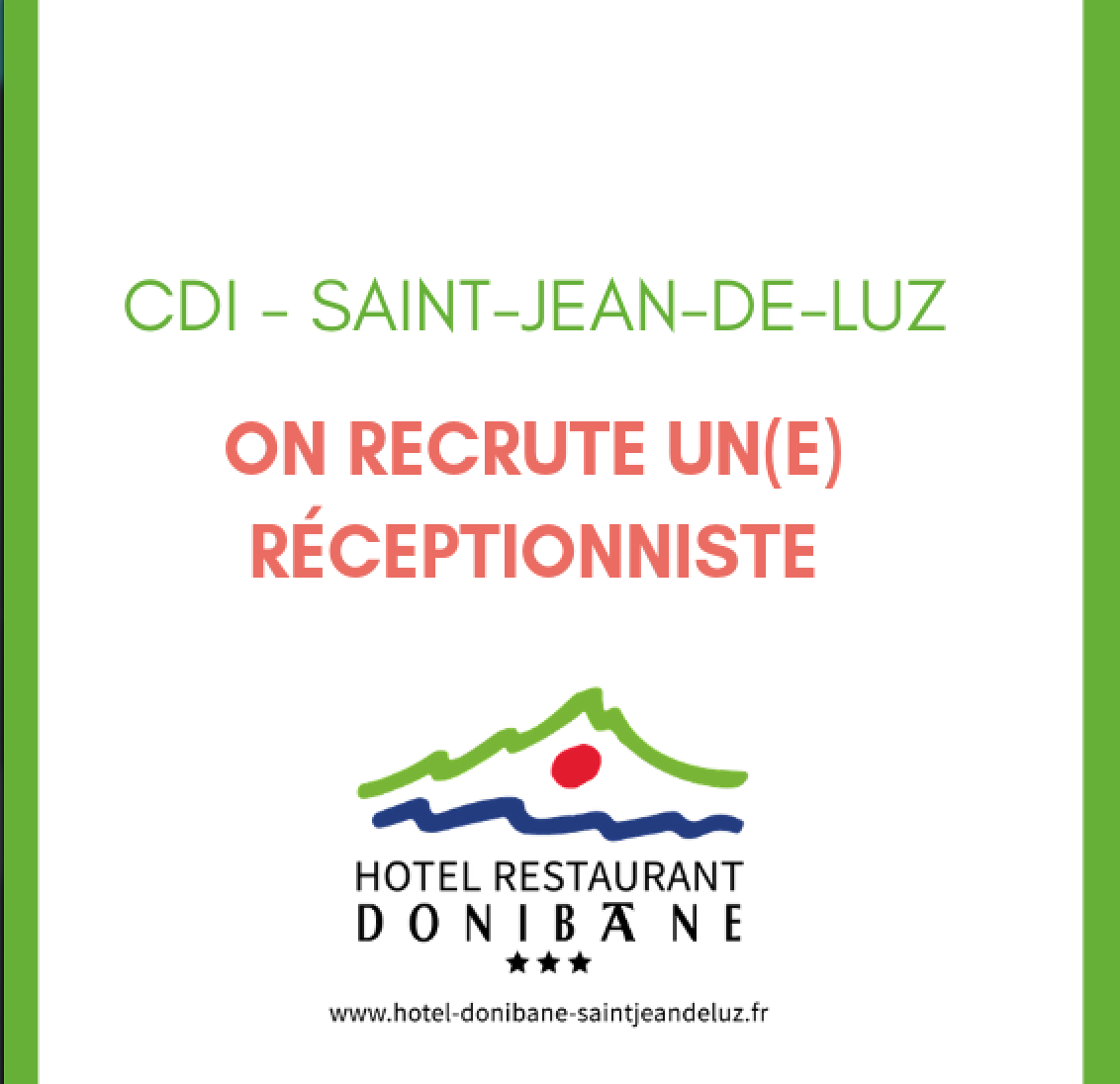 On recrute un réceptionniste (h/f) en CDI Saint-Jean-de-Luz