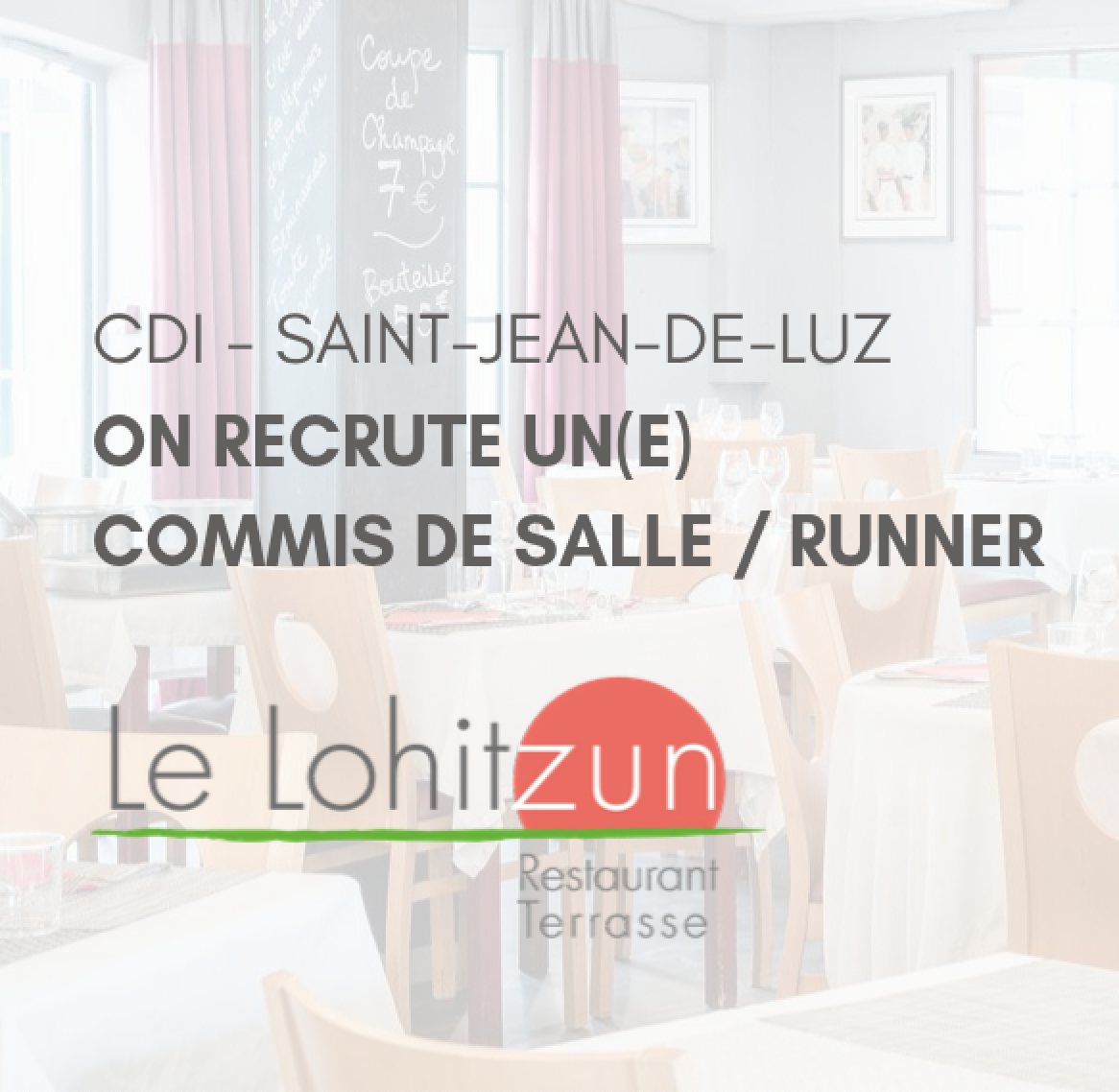 On recrute un(e) commis de salle / runner (CDI Saint-Jean-de-Luz)